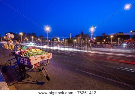 Vendor Selling Fruits At Asian City. Phnom Penh, Camboda