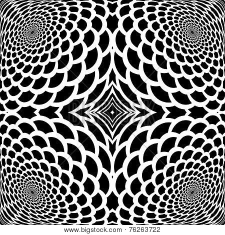 Monochrome Abstract Snakeskin Background In Op Art Design
