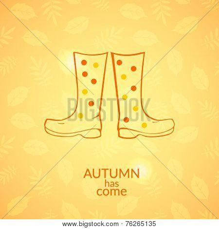 Autumn gumboots vector icon