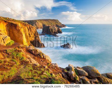 Cliffs At Lands End Cornwall