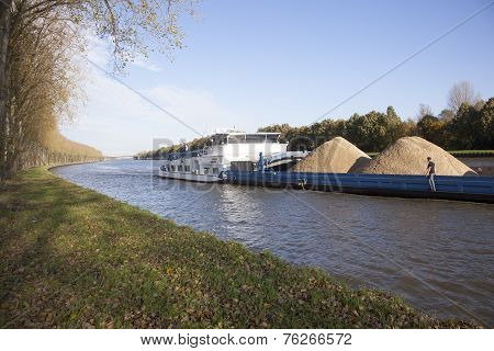 Transportation Through Canal In The Netherlands