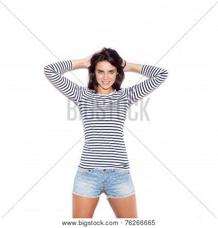 Young Skater Girl. Outdoor Fashion Portrait Of Young Beautiful Woman In T-shirt, Shorts And Cap