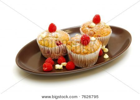 Berry Muffins On Plate Isolated