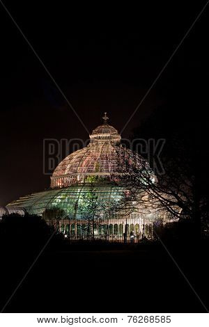 Sefton Park Palm House, Liverpool, England, Completed In 1896. At Nighttime