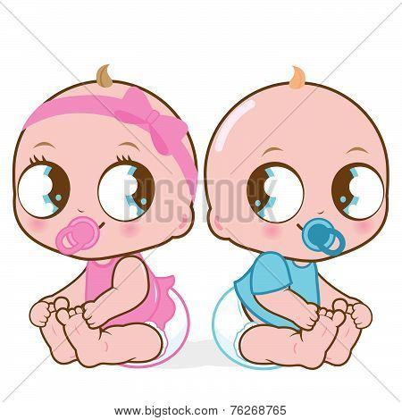 Cute baby girl and boy vector