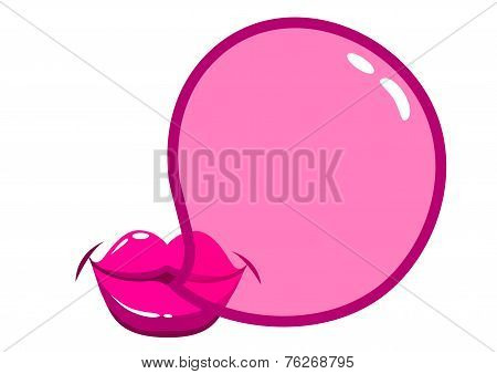 Vector Lips blowing a bubblegum bubble