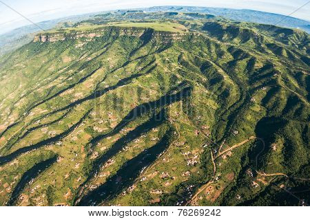 Aerial View Rural Homes Mountains