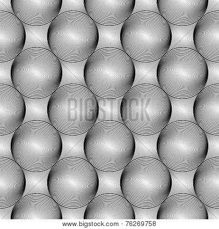 Design Seamless Monochrome Sphere Geometric Lines Pattern