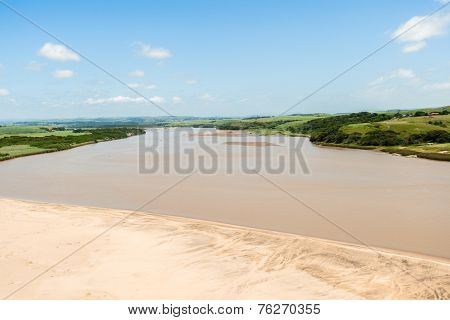 River Mouth Beach Air Birds Eye Landscape