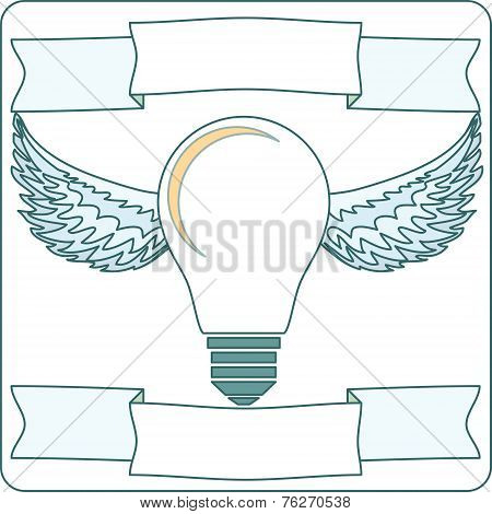 Light Bulb with Wings and Banners, Vector Illustration