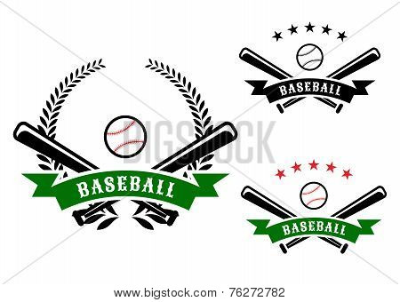 Baseball emblems with crossed bats