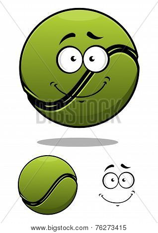 Happy cartoon tennis ball