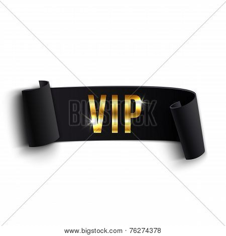 VIP black curved ribbon isolated on white background