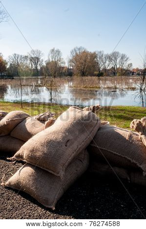 Barricades of sandbags