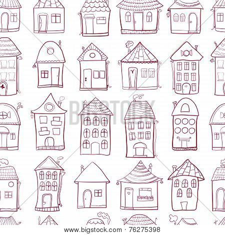 Seamless pattern with outine houses