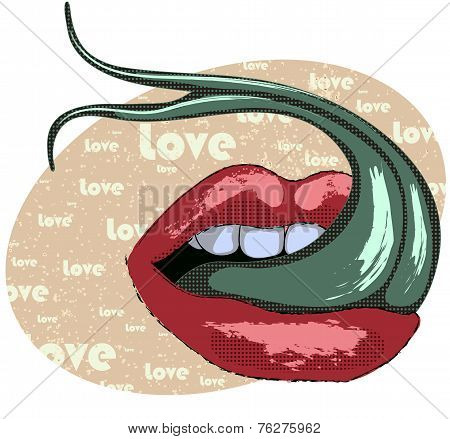Sexy Lips With Snake Tounge