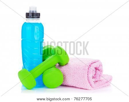 Two green dumbells, drink bottle and towel. Isolated on white background