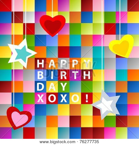 Birthday Card-colorful Squares