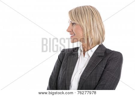 Blond isolated mature business woman looking sideways to text.