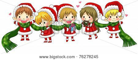 Cute Christmas Elves Tie Together With A Long Scarf (vector)