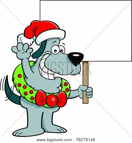Cartoon dog wearing a wreath and Santa hat holding a sign.