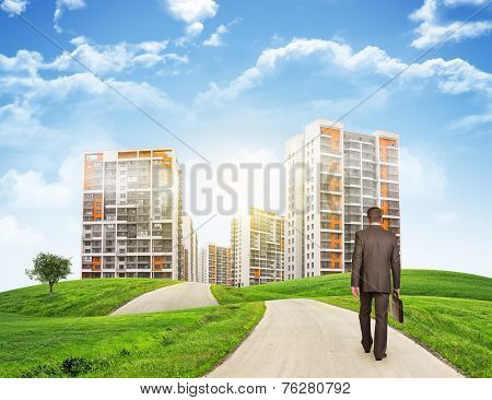 Businessman walks on road. Rear view. Buildings, grass field and sky in background