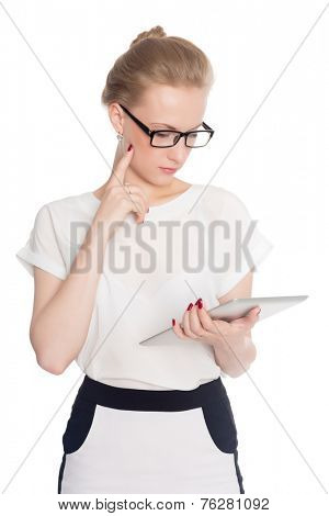 Business woman using digital tablet computer PC isolated on white background.