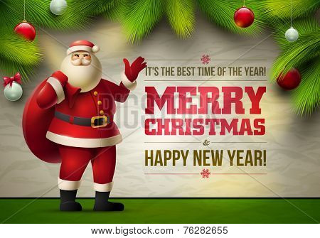 Vector Santa Claus show Christmas Messages and objects on wrinkled paper background. Elements are layered separately in vector file.