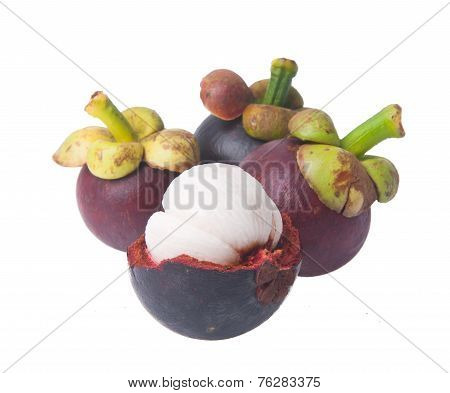 Mangosteen Fruit And Cross Section Showing The Thick Purple Skin And White Flesh Of The Queen Of Fru