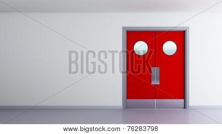 Red Double Door Interior Space