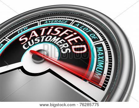 Satisfied Customers Conceptual Meter Indicate Maximum
