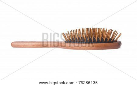 Wooden Old Comb On Blackground