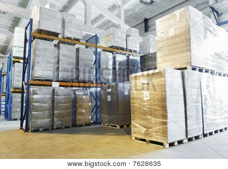 Warehouse With Shelves Rack Arrangement