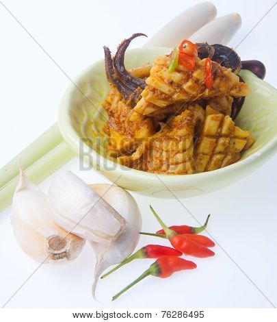 Squid Curry On Blackground