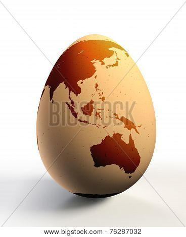 Australia And Asia Continent On Chicken Egg