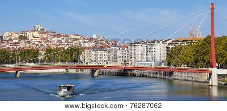 Panoramic View On Lyon And Saone River With Boat