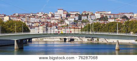 Panoramic View On Lyon And Saone Rive