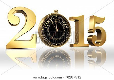 Happy New Year 2015 Golden Number