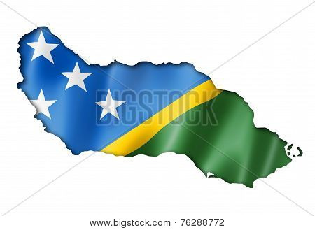 Solomon Islands Flag Map