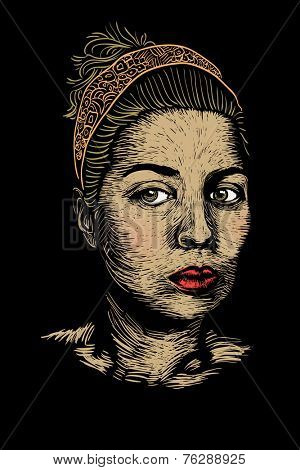 hand drawn female portrait, color linogravure style, vector