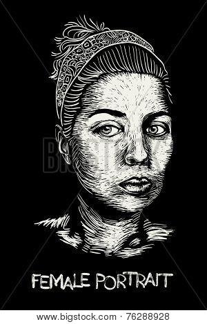 hand drawn female portrait, white over black linogravure style, vector