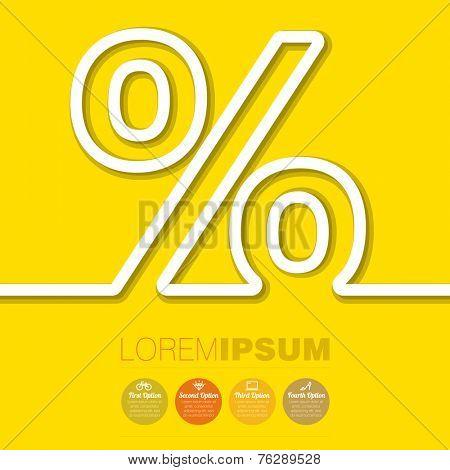 Paper strip percent vector template.