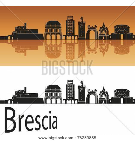 Brescia Skyline In Orange Background