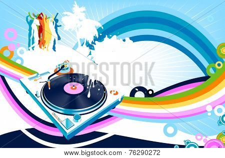 silhouettes dancing; abstract design with rainbow