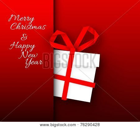 Simple red vector christmas present box made from paper stripe - original new year card