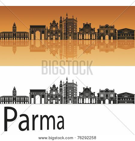 Parma Skyline In Orange Background