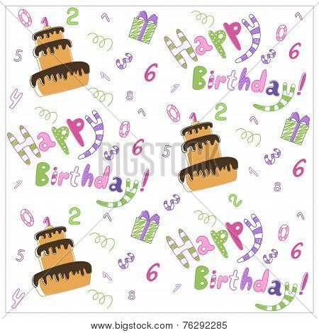 Seamless happy birthday cake and decoration background pattern