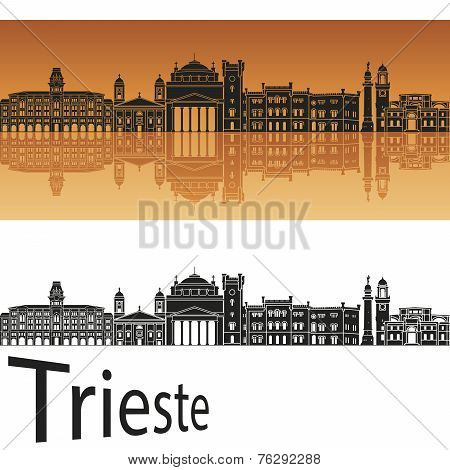 Trieste Skyline In Orange Background
