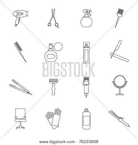 Hairdresser icon set outline