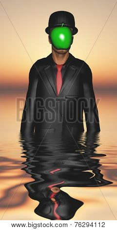Man in dark suit hidden face partly underwater